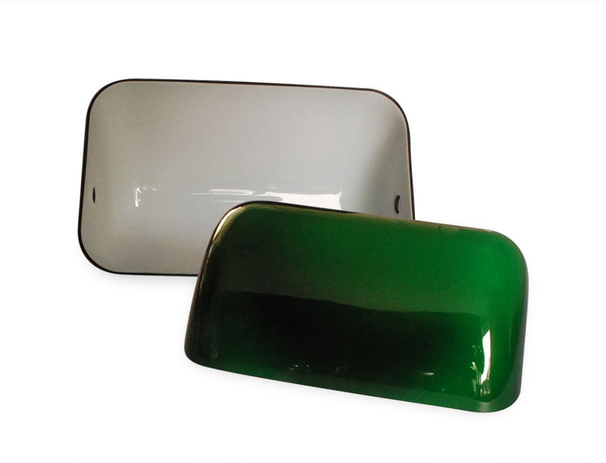 green glass bankers lampshade with opal white interior. Black Bedroom Furniture Sets. Home Design Ideas