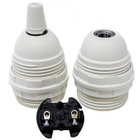 Group Photo of Edison screw plastic threaded lampholder in white