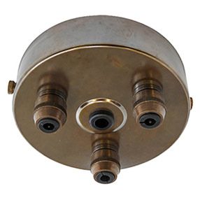 aged brass metal triple cord grip ceiling plate