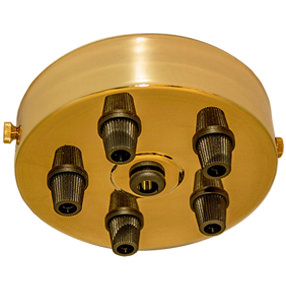 Large Brass five black cord grip Ceiling Plate