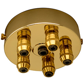 Large Brass Ceiling Plate with multiple Cord Grips