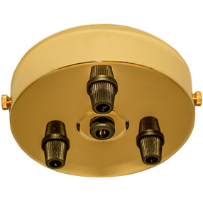 Brass 3 black cord grip large ceiling plate