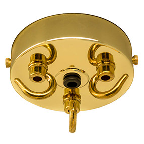 Brass 3 hook large ceiling hook
