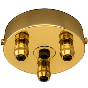 Brass 3 metal cord grip large ceiling plate
