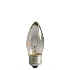 Clear candle lamp bulb with standard Edison Screw fitting