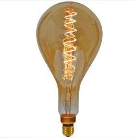 Giant elongated Curly filament LED bulb
