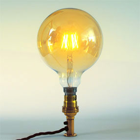 Group Photo of Large Bayonet Globe Gold Squirrel Cage bulb LED