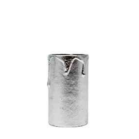 Metallic silver dripped 60mm card candle tube
