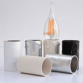 Group Photo of 60mm x 32mm silver candle tube with wax look drips