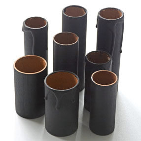 Group Photo of 85mm black card candle tube - no drips