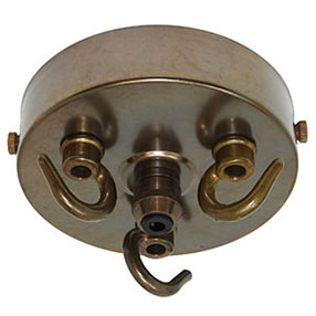 triple hook large metal ceiling plate with cord grip