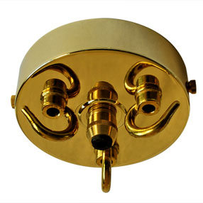 Large solid brass multi ceiling hook