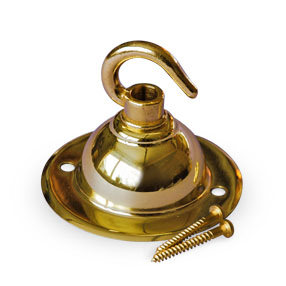 Brass ceiling light plate with single hook