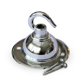 Single ceiling hook and small plate in chrome