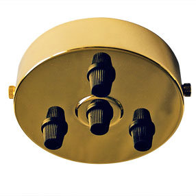 Large Brass Ceiling Plate with 4 black cord grips