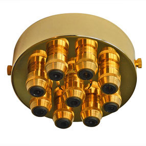Large Brass 9 Metal Cord Grip Ceiling Plate