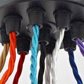 Group Photo of Black Multi Cord Grip Black Ceiling Plate