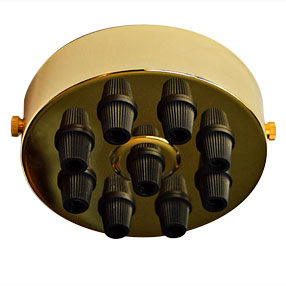 Large Brass 9 black cord grip Ceiling Plate