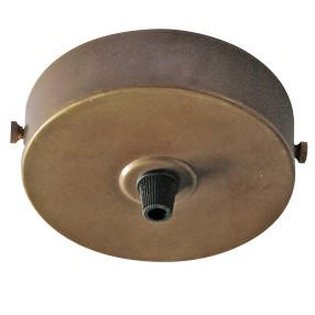Large aged ceiling plate and plastic cord grip