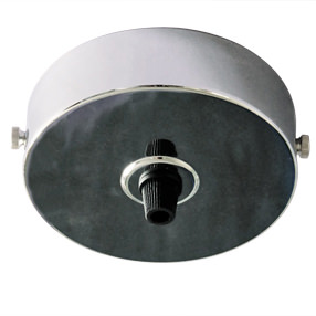 Large chrome ceiling rose with black cord grip