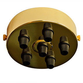Large Brass six black cord grip Ceiling Plate
