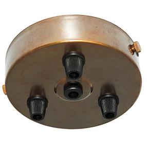 aged brass metal triple black cord grip ceiling plate