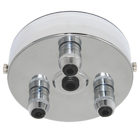 Chrome 3 metal cord grip large ceiling plate