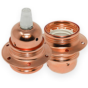 Copper ES Lampholders with shade rings