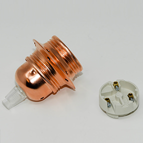Group Photo of Copper Lampholder ES with 2 shade rings & cord grip