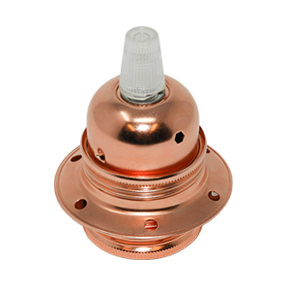 Copper Lampholder ES with 2 shade rings & cord grip