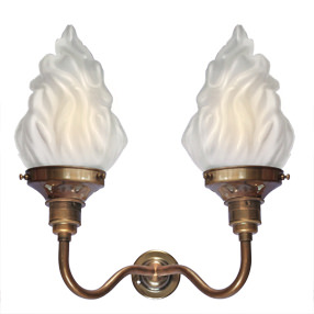 Group Photo of Vintage brass swan neck double arm Edison Screw wall light