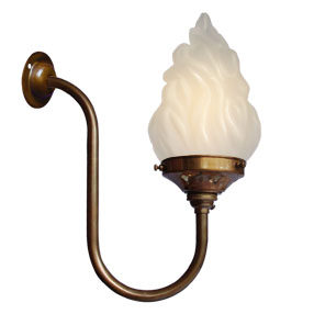 Group Photo of Large vintage brass swan neck Bayonet bulb wall light