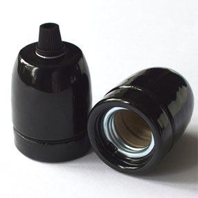 edison lampholders black ceramic cord grip & 10mm entry