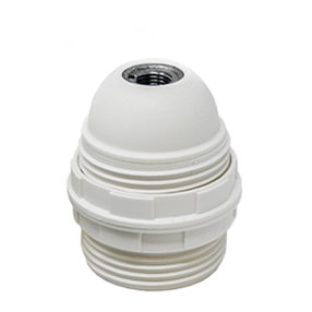 Edison screw plastic threaded lampholder in white