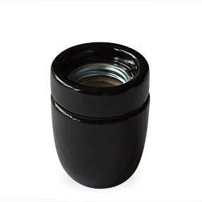 Black Porcelain ES Lamp Holder