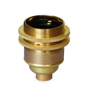 Brass Edison screw lampholder with shade rings 10mm