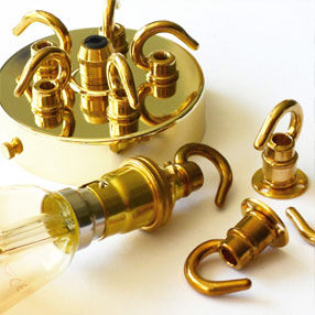 Group Photo of Hooked Brass BC lamp holder with no shade rings