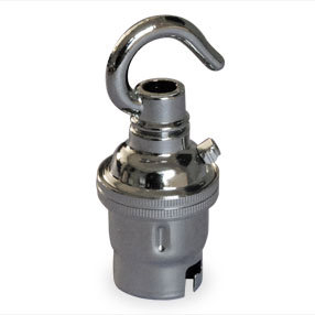 Chrome BC lamp holder with solid hook