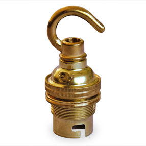 Brass lamp holder with hook and shade rings