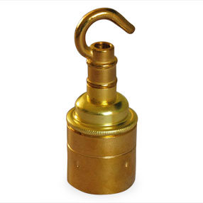 Brass ES hooked lampholder without shade rings