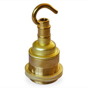 Solid brass ES Lamp holder with hook and shade rings