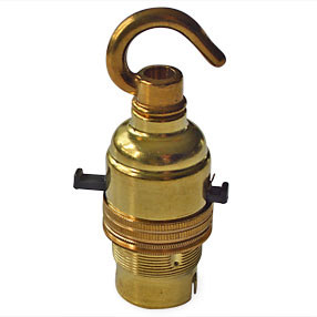 Lampholder Brass switched BC with hook