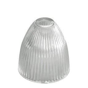 Bayonet elongated dome rimless prismatic ribbed glass lightshade
