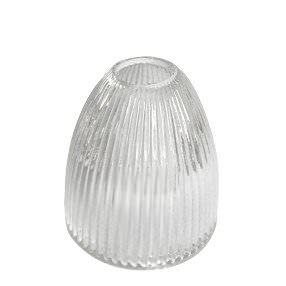 elongated dome rimless prismatic ribbed glass edison lightshade