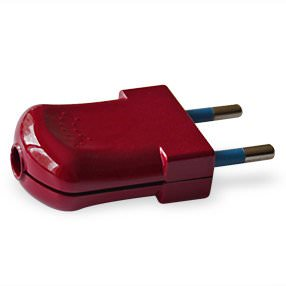glossy burgundy plastic European electrical plug