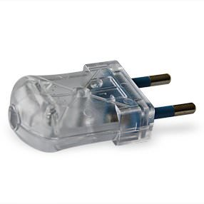 Transparent clear slimline 2-pin electrical plug