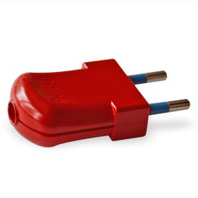 Red Euro 2 pin electrical plug