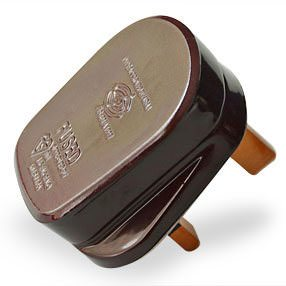 Brown plastic UK 3-Pin 3 Amp plug