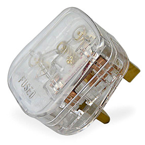 clear transparent British electrical plug