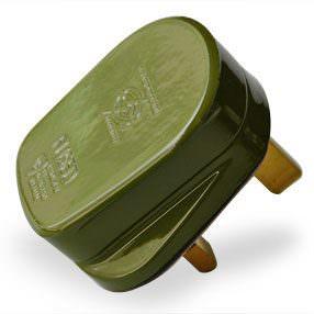 Sage green plastic 3 pin 3 Amp UK plug